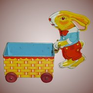 J Chein Tin Lithographed Easter Bunny Rabbit Pushing Cart