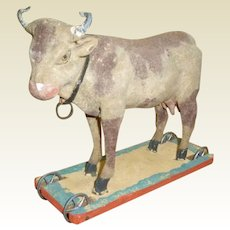 Simply Adorable Paper Mache Cow Pull Toy