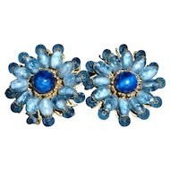 Vintage Miriam Haskell Earrings Gorgeous Blue!
