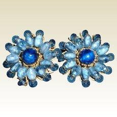 Vintage Miriam Haskell Earrings Gorgeous Blue!
