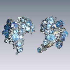 Signed De Mario Earrings Beautiful Blue!