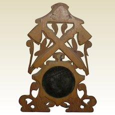 Folk Art Wood Fireman's Watch Hutch