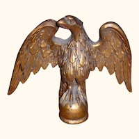 Gorgeous Folk Art Carved Wood Eagle In Gold Paint