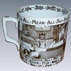 Staffordshire Transfer Child's Mug - Very Unusual!