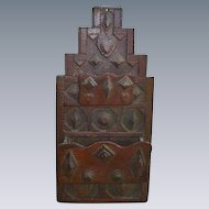 Gorgeous Chip Carved Folk Art Wall Box With Hearts