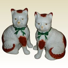 Pair Of Staffordshire Cat Pottery Figures