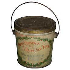 Antique Christmas Tin Candy Pail Advertising Container