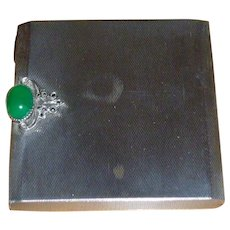 Gorgeous 800 Sterling Compact W/Green Stone And Marcasite