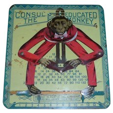 Unusual Tin Lithographed Educated Monkey Early Calculator