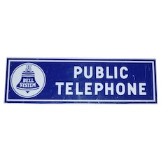 Bell System Public Telephone Advertising Sign