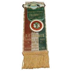 Brotherhood Of Railroad Trainmen Memorial Badge Circa 1910