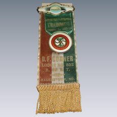Brotherhood Of Railroad Trainmen Memorial Badge Circa 1910