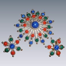 Vintage Vibrant Sarah Coventry Pin And Earrings Set