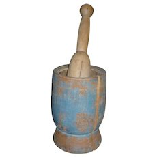Antique Mortar And Pestle In Old Blue Paint