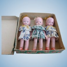 Three Bisque Japan Dolls In Original Box