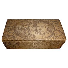 Vintage Pyrography Hinged Box Precious Mother And Child