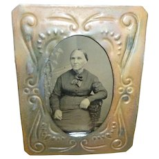 Pressed Tin Picture Frame W/ Civil War Era Tintype