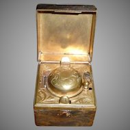 19C Brass Traveling Inkwell In Leather Case