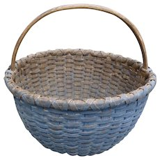 Antique Gathering Basket In Original Old Blue Paint