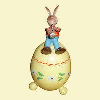 Sweet Wooden Rabbit On Easter Egg Candy Container