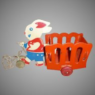 Vintage Fibreboard Rabbit And Cart Pull Toy