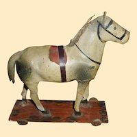 Paper Mache Horse On Wheeled Platform