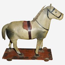 Paper Mache Horse On Wheeled Platform