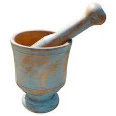 Wooden Mortar And Pestle In Old Blue Paint