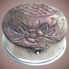 Sterling Silver And Carved Mother Of Pearl Patch Box