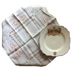 George VI Commemorative Meakin Plate And Silk Handkerchief