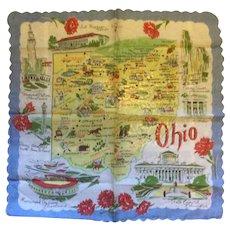 Vintage Ohio Souvenir Handkerchief
