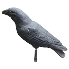 Paper Mache Crow Decoy Halloween Decor