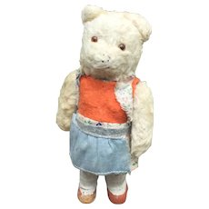 German Mohair Dancing Bear Wind Up Toy