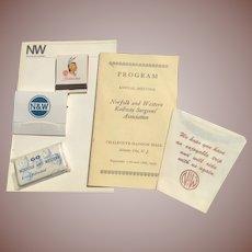 Norfolk & Western Railway Railroad Ephemera