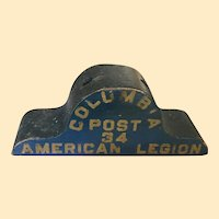 Wonderful American Legion Wooden Flag Holder In Original Paint