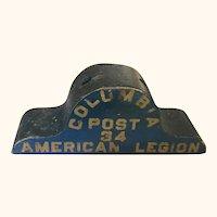 Wonderful American Legion Wooden Flag Holder In Original Paint