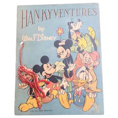 1939 Walt Disney HANKYVENTURES Children's Book Complete With Hankies