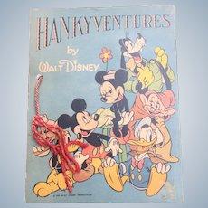 1939 Walt Disney HANKYVENTURES Children's Book Complete With Hankies