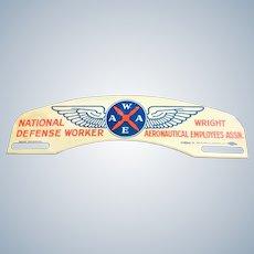 Vintage National Defense Worker License Plate Topper