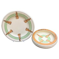 Roseville Juvenile Rabbit Plate And Bowl