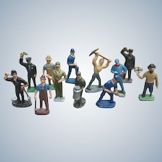 Group Of Twelve Small Lead Worker Figures For Train Or Dollhouse