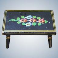 Folk Art Tole Painted Wooden Stool