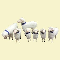 Vintage German Putz Wooly Sheep