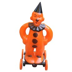 Vintage Halloween Clown On Wheels Candy Container
