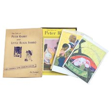 Vintage Little Black Sambo Peter Rabbit Book And Puzzle Set
