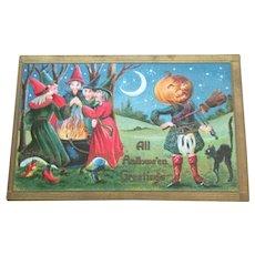 Halloween Postcard Anthropomorphic Pumpkin Man