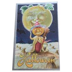 Halloween Postcard Pumpkin With Ear Of Corn Body