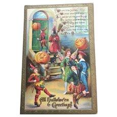 Halloween Postcard Fairies With Pumpkin Parade Lanterns