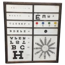 Awesome Antique Glass Optometrist Eye Chart