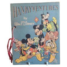 1939 Walt Disney HANKYVENTURES Children's Book Complete With Child's Handkerchiefs